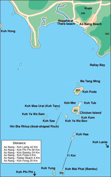 Карта островов Ао Нанга